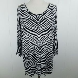MICHAEL Michael Kors Zebra Cold Shoulder Blouse XL